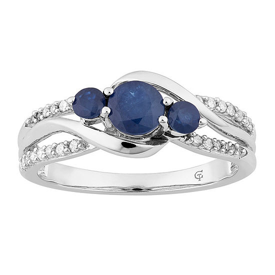 Womens 1/7 CT. T.W. Genuine Blue Sapphire 10K White Gold Cocktail Ring