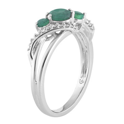 Womens 1/8 CT. T.W. Genuine Green Emerald 10K White Gold Cocktail Ring