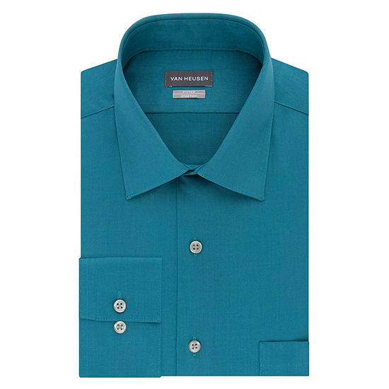 Van Heusen - Fitted No Iron Lux Sateen Mens Spread Collar Long Sleeve Stretch Dress Shirt