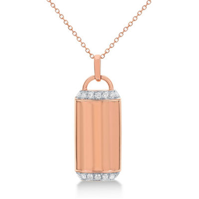 Womens 1/5 CT. T.W. White Diamond 14K Rose Gold Pendant Necklace