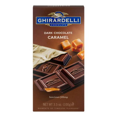 Ghirardelli Chocolate Bar Dark Chocolate Caramel -3.5 oz - 12 Count