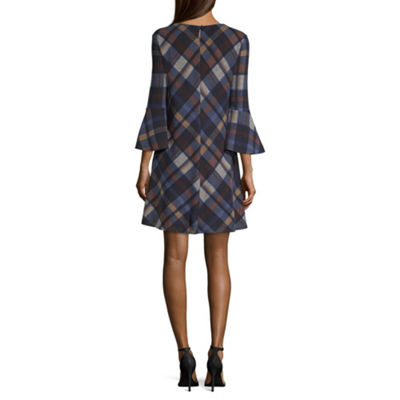 Jessica Howard 3/4 Sleeve Plaid A-Line Dress-Petite