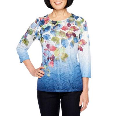Alfred Dunner Classics-Womens Jewel Neck 3/4 Sleeve T-Shirt