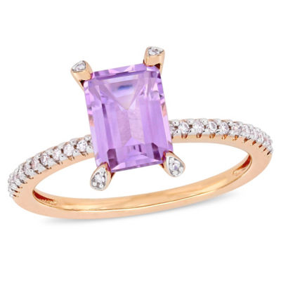 Womens 1/10 CT. T.W. Genuine Purple Amethyst 10K Rose Gold Cocktail Ring