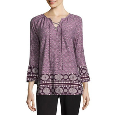 Liz Claiborne 3/4 Sleeve Ruffled Sleeve Geometric Peasant Top