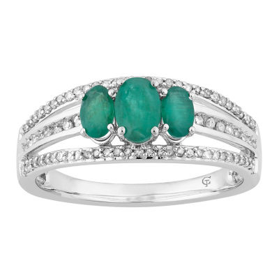 Womens 1/4 CT. T.W. Genuine Green Emerald 10K White Gold Cocktail Ring