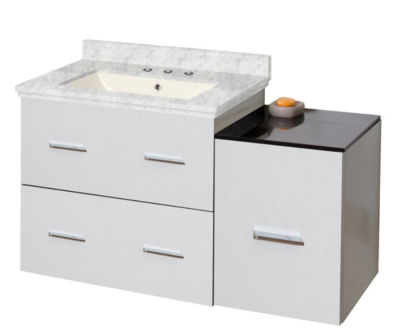37.75-in. W Wall Mount White Vanity Set For 3H8-in. Drilling Bianca Carara Top Biscuit UM Sink