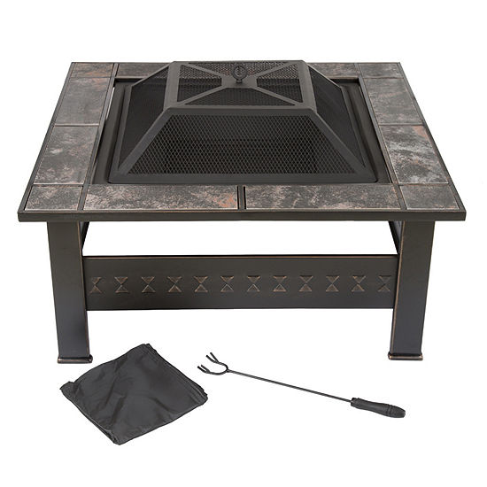 Pure Garden 32 in. Marble Tile Square Firepit