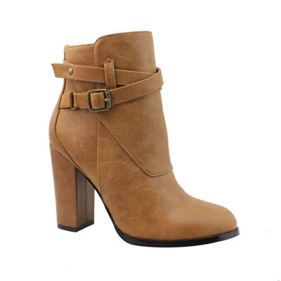 Michael Antonio Womens Moriss Booties Block Heel Buckle
