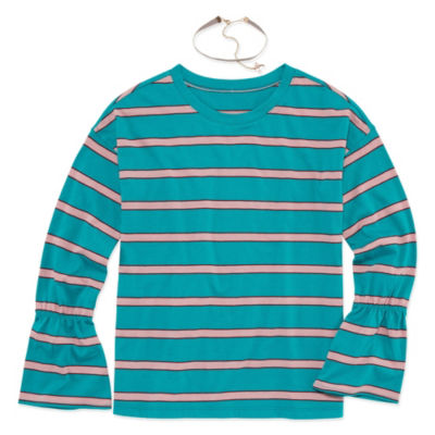 Arizona Bell Sleeve Striped Top with Choker - Girls' 4-16 & Plus