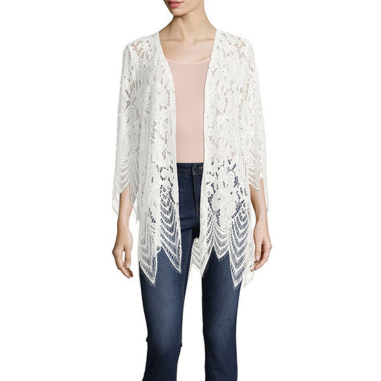 Almost Famous Womens 3/4 Sleeve Kimono-Juniors