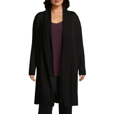 Worthington Womens Long Sleeve Cardigan-Plus