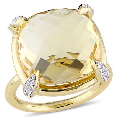 Womens Genuine Yellow Citrine 14K Gold Cocktail Ring