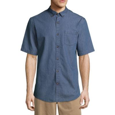 St. John's Bay Short Sleeve Geometric Button-Front Shirt