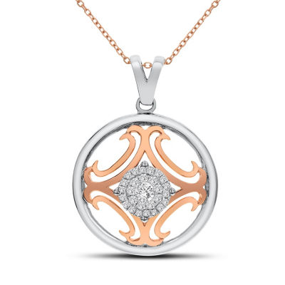 Womens 1/4 CT. T.W. White Diamond 14K Rose Gold Pendant Necklace