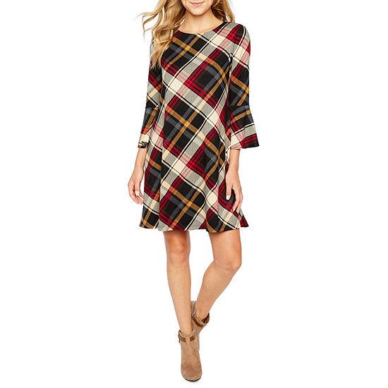 Jessica Howard 3 4 Bell Sleeve Plaid A Line Dress