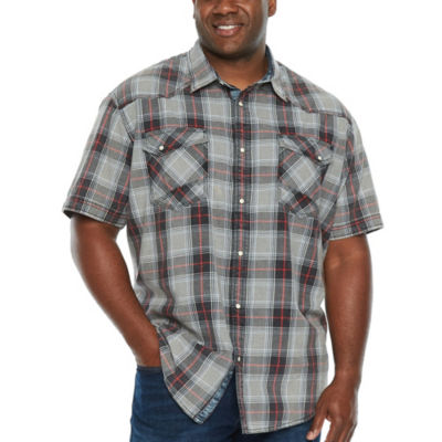 The Foundry Big & Tall Supply Co. Mens Short Sleeve Plaid Button-Front Shirt Big and Tall