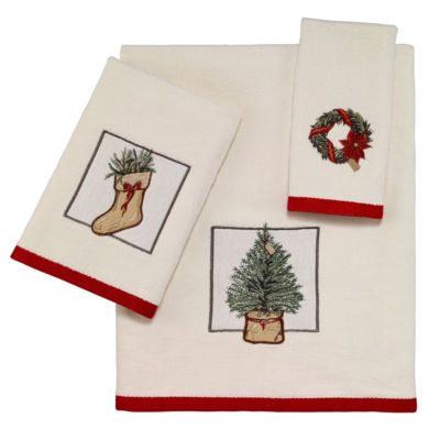 Avanti Farmhouse Holiday Embroidered Bath Towel