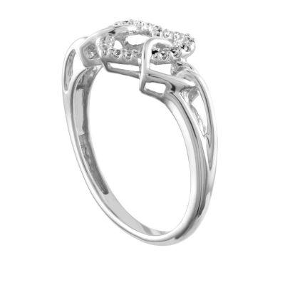 Womens Diamond Accent 10K White Gold Heart Ring