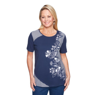 Alfred Dunner Out Of The Blue Short Sleeve Crew Neck Pattern T-Shirt-Womens