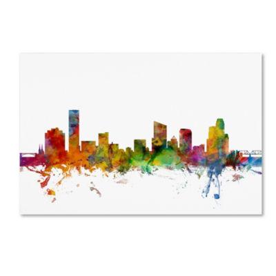 Trademark Fine Art Michael Tompsett Grand Rapids Michigan Skyline Giclee Canvas Art