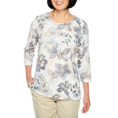 Alfred Dunner Classics 3/4 Sleeve Jewel Neck Floral T-Shirt-Womens