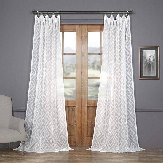 Exclusive Fabrics & Furnishing Toulouse Key TaupeFaux Linen Sheer Rod-Pocket Curtain Panel