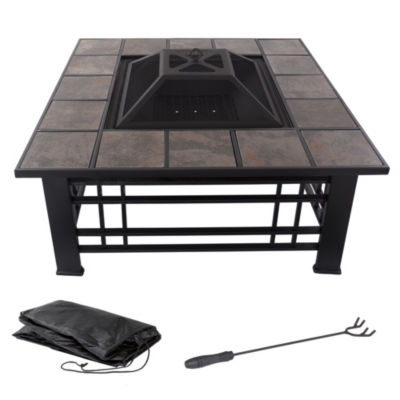Pure Garden 32 in. Square Tile Firepit