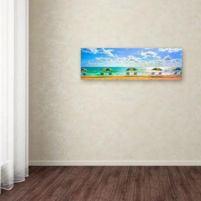 Trademark Fine Art Preston Florida Beach Chairs Umbrellas Giclee Canvas Art