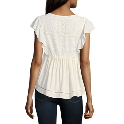 Rewind Short Sleeve Boat Neck Woven Lace Blouse-Juniors