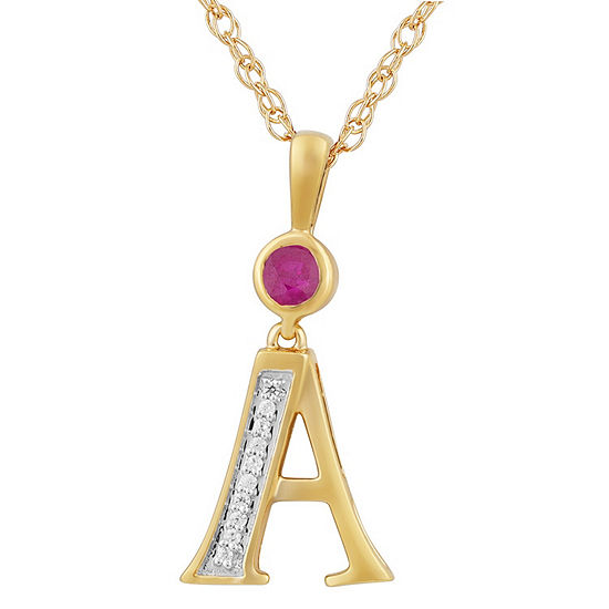 A Womens Lab Created Red Ruby 14K Gold Over Silver Pendant Necklace