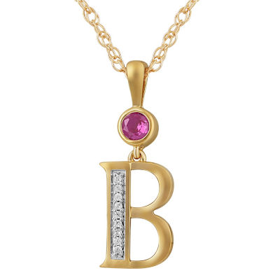 B Womens Lab Created Red Ruby 14K Gold Over Silver Pendant Necklace