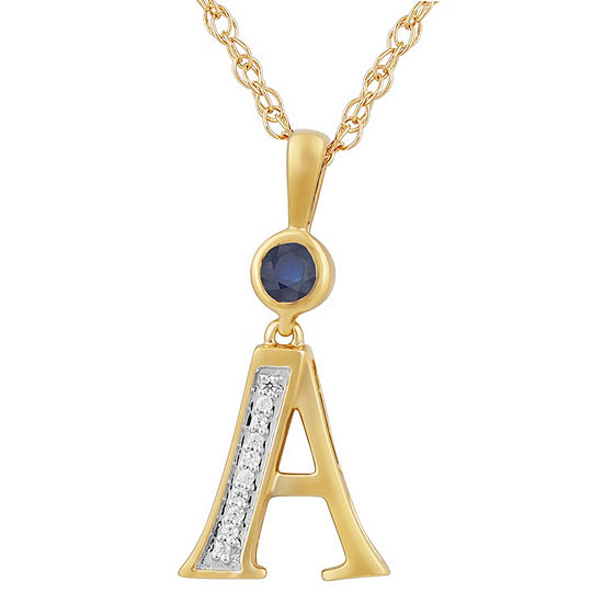 A Womens Lab Created Blue Sapphire 14k Gold Over Silver Pendant Necklace