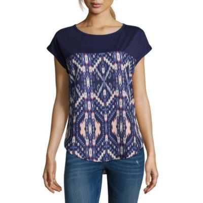 Rewind Short Sleeve Crew Neck Pattern T-Shirt-Womens Juniors