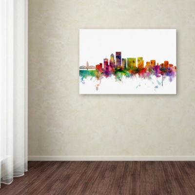 Trademark Fine Art Michael Tompsett Portland Oregon Skyline Giclee Canvas Art