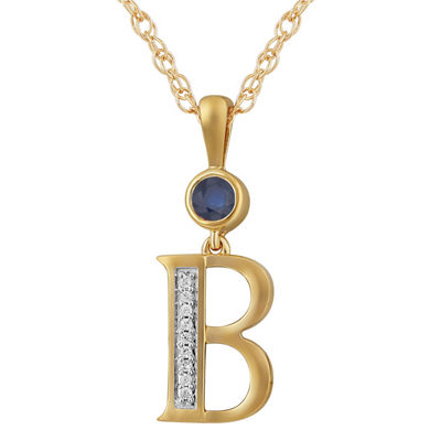 B Womens Lab Created Blue Sapphire 14K Gold Over Silver Pendant Necklace