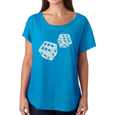 Los Angeles Pop Art Women's Loose Fit Dolman Cut Word Art Shirt - DIFFERENT ROLLS THROWN IN THE GAMEOF CRAPS