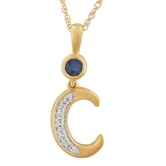 C Womens Lab Created Blue Sapphire 14K Gold Over Silver Pendant Necklace