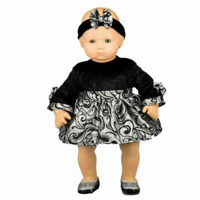 The Queen's Treasures 15 Inch Baby Doll Black Velvet & Silver Dress