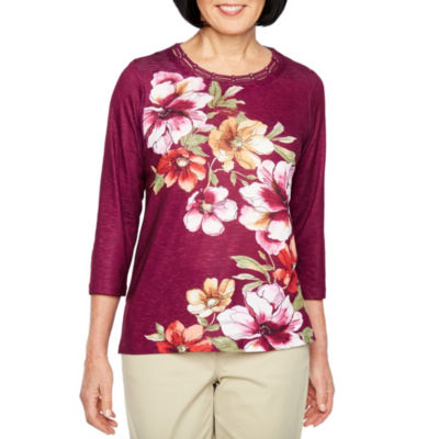 Alfred Dunner Classics 3/4 Sleeve Round Neck Floral T-Shirt-Womens
