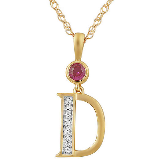 D Womens Lab Created Red Ruby 14k Gold Over Silver Pendant Necklace