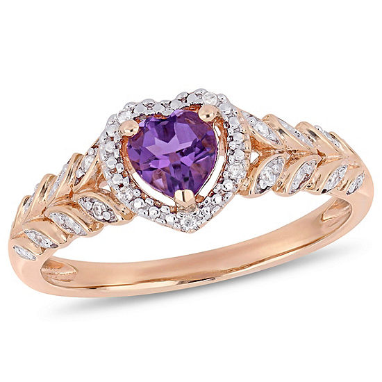 Womens Diamond Accent Genuine Purple Amethyst 10K Rose Gold Heart Cocktail Ring
