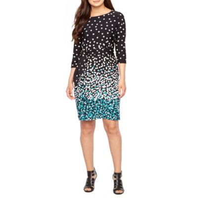 Studio 1 3/4 Sleeve Puff Print Polka Dot Sheath Dress