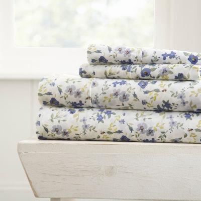 Casual Comfort Premium Ultra Soft Blossoms Pattern 4 Piece Bed Sheet Set