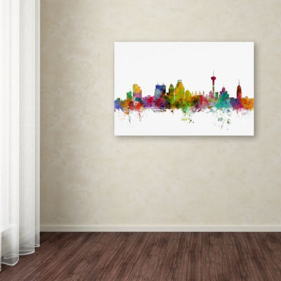 Trademark Fine Art Michael Tompsett San Antonio Texas Skyline Giclee Canvas Art
