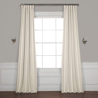 Exclusive Fabrics & Furnishing Faux Linen Blackout Rod-Pocket/Back-Tab Curtain Panel