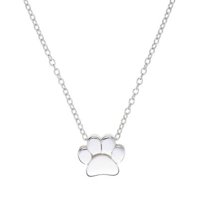Footnotes Pawprint Womens Sterling Silver Pendant Necklace
