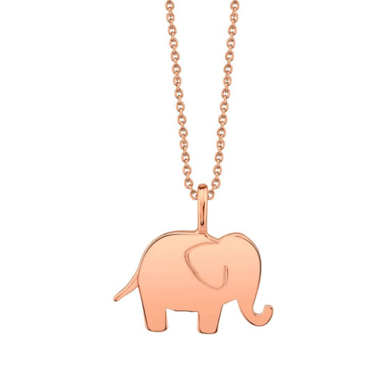 Footnotes Rose Gold Elephant Womens Sterling Silver Pendant Necklace
