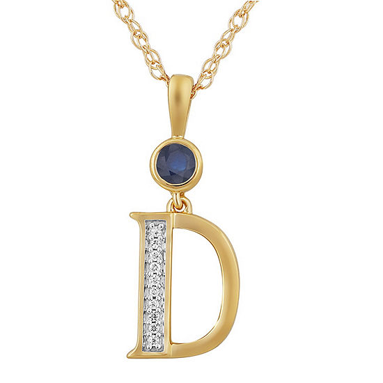 D Womens Lab Created Blue Sapphire 14K Gold Over Silver Pendant Necklace