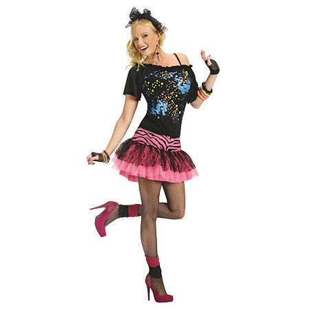 80s Costumes, 80s Clothing Ideas- Girls 80s Pop Party Adult Costume Small-medium  Multiple Colors $29.70 AT vintagedancer.com